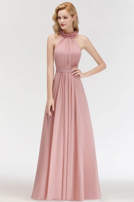 Elegant Summer Chiffon Bridesmaid Dresses UK | Halter Ruffles Long Formal Dresses_4