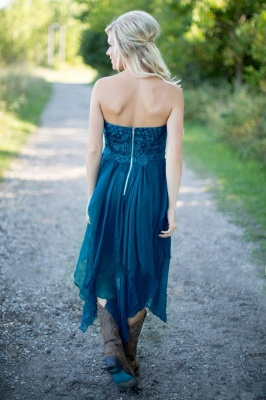 Teal Country Bridesmaid Dresses UK Lace Top Tiers Chiffon Asymmetrical Party Dresses for Wedding_5