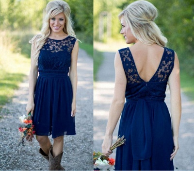 Navy Blue Lace Short Bridesmaid Dresses UK | Fall Long Wedding Party Dresses_3