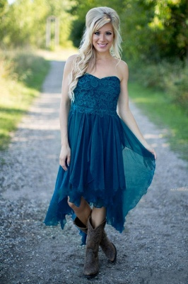 Teal Country Bridesmaid Dresses UK Lace Top Tiers Chiffon Asymmetrical Party Dresses for Wedding_3