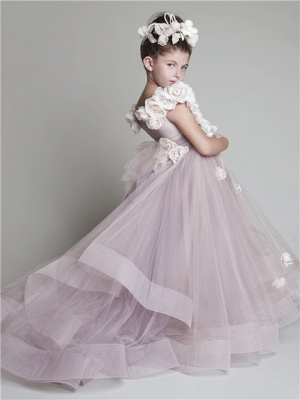 Sweep Train UK Flower Girl Dresses Flowers Tiered Draped Cute Puffy Organza Pink Pageant Dress_2