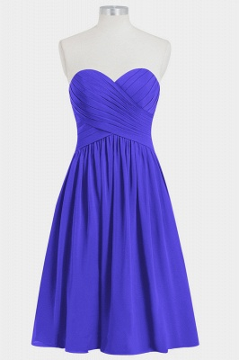 Fall Chiffon Strapless Sweetheart Knee Length Bridesmaid Dresses UK with Ruffles_3