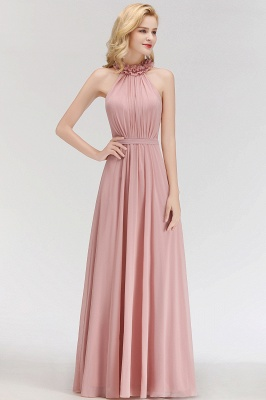 Elegant Summer Chiffon Bridesmaid Dresses UK | Halter Ruffles Long Formal Dresses_3