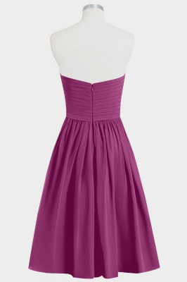 Fall Chiffon Strapless Sweetheart Knee Length Bridesmaid Dresses UK with Ruffles_2