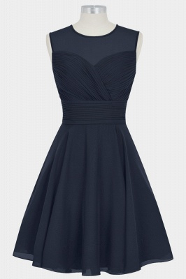 Fall Chiffon Round Neck Sleeveless Bridesmaid Dresses UK with Ruffles_1