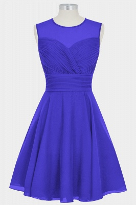 Fall Chiffon Round Neck Sleeveless Bridesmaid Dresses UK with Ruffles_4