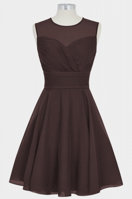 Fall Chiffon Round Neck Sleeveless Bridesmaid Dresses UK with Ruffles_3