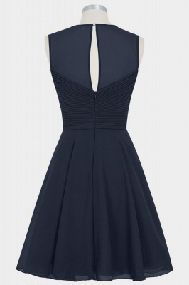 Fall Chiffon Round Neck Sleeveless Bridesmaid Dresses UK with Ruffles_2