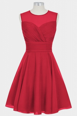 Fall Chiffon Round Neck Sleeveless Bridesmaid Dresses UK with Ruffles_5
