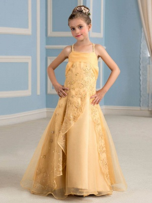 Modest Organza Embroidery Spaghetti Straps Long UK Flower Girl Dress