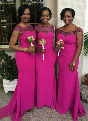 Fuchsia Sexy Trumpt Bridesmaid Dresses UK | Capped Sleeves Maid of The Honor Dress_3