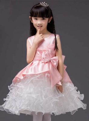 Modest Organza Scoop Bowknot Knee-Length UK Flower Girl Dress