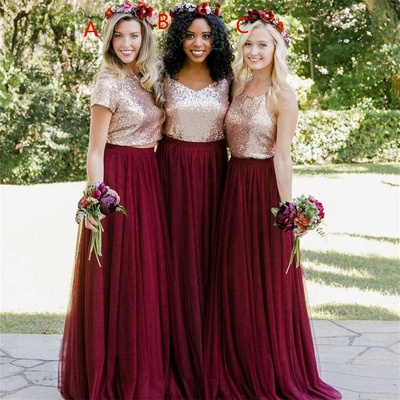 Long Sequin Bridesmaid Dresses UK, chiffon Burugndy Bridesmaid Dress_3