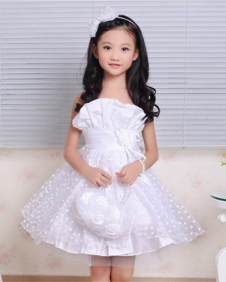 A line Lace Spaghetti Straps Heart shape Pattern UK Flower Girl Dress