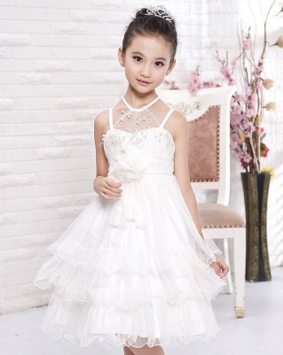 A line Tulle Halter Layered Knee length UK Flower Girl Dress
