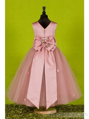 Attractive Puffy Ankle-length Round-neck Flowers Embellishing UK Flower Girl Dress_3
