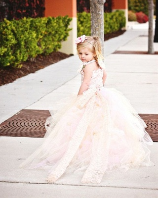 Cute Sleeveless Tulle UK Flower Girl Dress With Long Train And Flowers_2