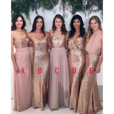 Mix & Match Bridesmaid Dress,Sequin Bridesmaid Dresses UK,Chiffon Bridesmaid Dress_3