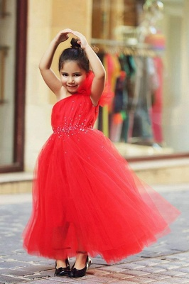 Cute Red One Shoulder Tulle Long UK Flower Girl Dress Cheap Crystal Floor Length Dresses for Girls_1