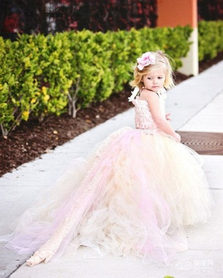 Cute Sleeveless Tulle UK Flower Girl Dress With Long Train And Flowers_4