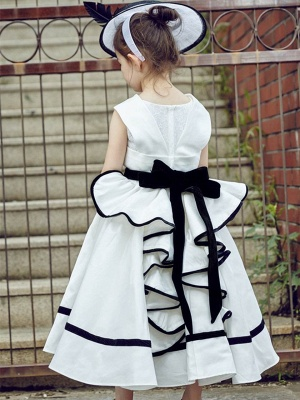 V-Neck Zipper-Up Bowknot Tea-Length UK Flower Girl Dress