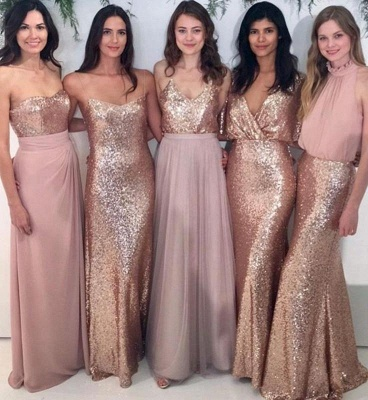 Mix & Match Bridesmaid Dress,Sequin Bridesmaid Dresses UK,Chiffon Bridesmaid Dress_1