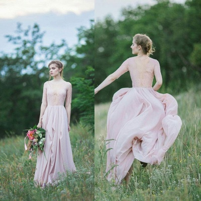 Sheer Lace Chiffon Bridesmaid Dresses UK Half Winter Ruffles Long Maid of Honor Dresses_5