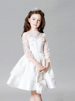 Modest Lace Bateau Appliques UK Flower Girl Dress with 3/4 Length Sleeves