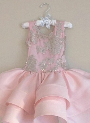 Pink Short Ruffles Skirt with Bowknot Flower Girl's Dresses UK_4
