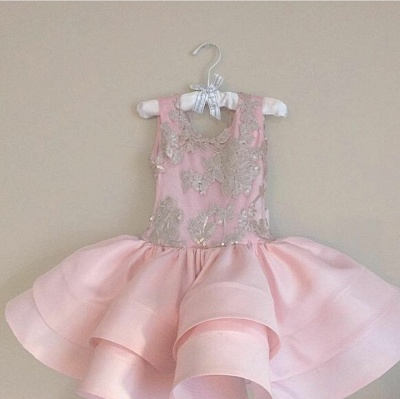 Pink Short Ruffles Skirt with Bowknot Flower Girl's Dresses UK_1