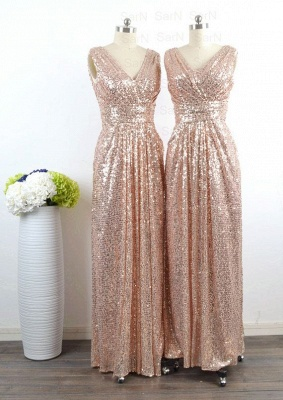 V-Neck Sequined Column Bridesmaids Dresses Ruffles Open Back Party Dresses_4