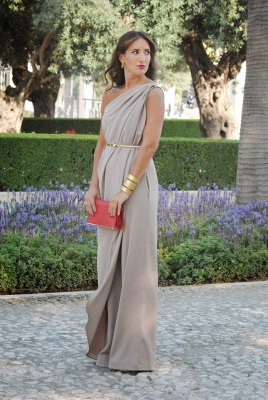 Sleeveless Long Modern One Shoulder Maternity Bridesmaid Dress UK_1