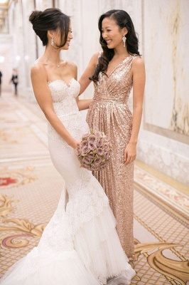 V-Neck Sequined Column Bridesmaids Dresses Ruffles Open Back Party Dresses_3