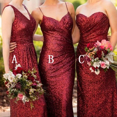 Cheap Burgundy Mix & Match Bridesmaid Dress,Long Sequin Bridesmaid Dress_3