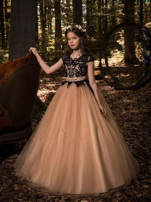 Modest UK Flower Girl Dresses | Scoop Cap Sleeves Lace Tulle Pageant Dresses_1