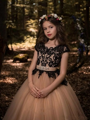 Modest UK Flower Girl Dresses | Scoop Cap Sleeves Lace Tulle Pageant Dresses_4
