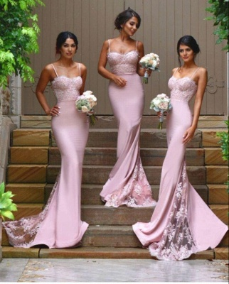 Newest Spaghetti Strap Sexy Trumpt Lace Bridesmaid Dress Sweep Train_1
