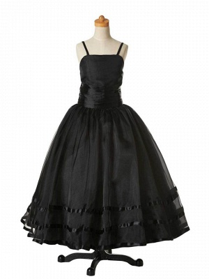 Modest Organza Spaghetti Straps UK Flower Girl Dress