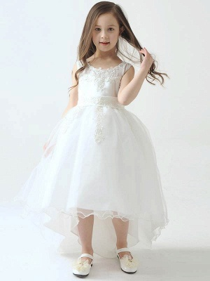 Hi-Lo Lace Tulle Tea-Length UK Flower Girl Dress with Appliques