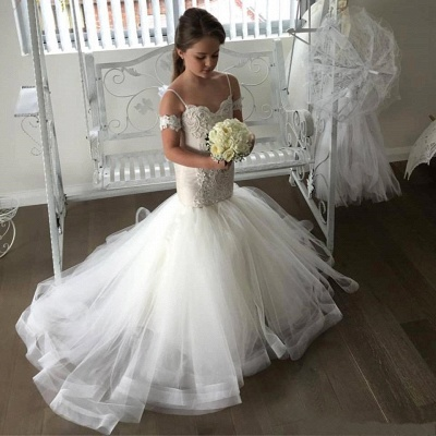 Cute Mermaid Tulle UK Flower Girl Dresses | Spaghetti Straps Appliques Girl Dresses_3