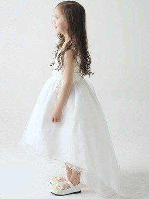 Hi-Lo Lace Tulle Tea-Length UK Flower Girl Dress with Appliques_3