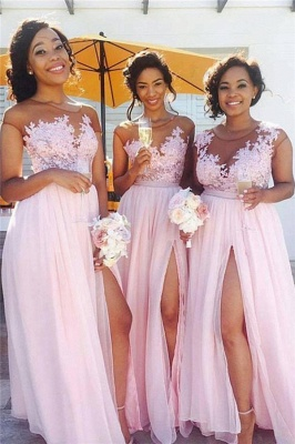 Pink Lace Chiffon Spring Bridesmaid Dresses UK Splits Long Dress for Maid of Honor Online BA6919_1