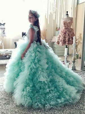 Beautiful Mint Green Ruffles Flower Girls Dresses | Puffy First Communion Dresses with Bow_3