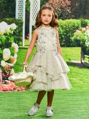 Modest Lace Jewel Sleeveless UK Flower Girl Dress with Appliques