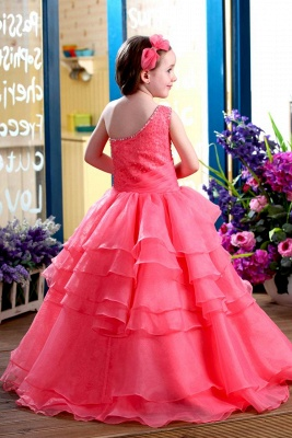 Modest Organza One-Shoulder Ruffles Long UK Flower Girl Dress_3