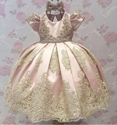 Cute Appliques UK Flower Girl Dresses | Girl's First Communication Dresses With Bows_3