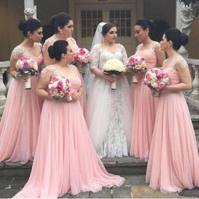 Cap Sleeves Pink Chiffon Cheap Bridesmaid Dresses UK Appliques Maid of Dresses Online_3