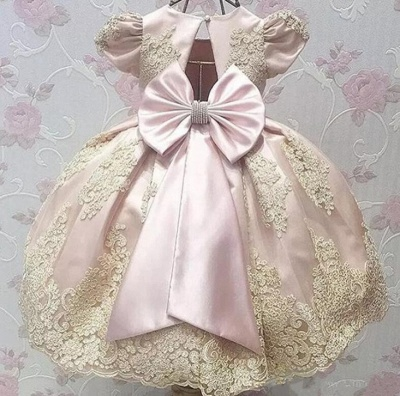 Cute Appliques UK Flower Girl Dresses | Girl's First Communication Dresses With Bows_4