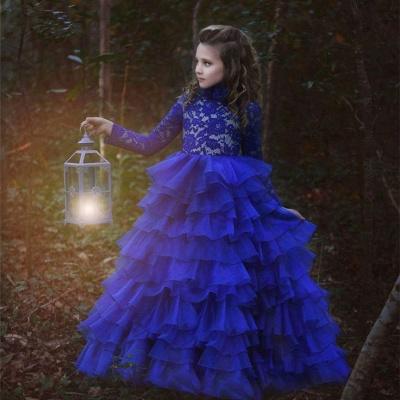 Flower Girls ten layers Party Dresses | Royal Blue Kids Formal Puffy_3