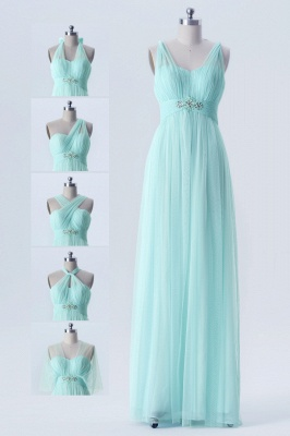 Fall Chiffon Multi Styles Floor Length Bridesmaid Dresses UK with Beading_1